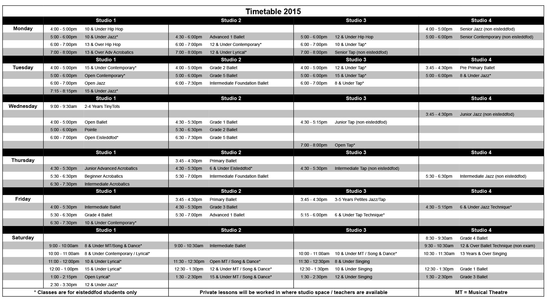 2015 Timetable